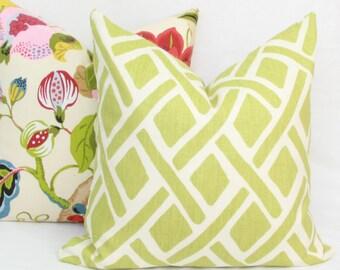 """Green trellis pillow cover. Kravet Treads pillow cover. 18"""" x 18"""". 20"""" x 20"""".22"""" x 22"""".24"""" x 24"""". 26"""" x 26""""."""