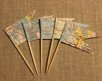 Vintage Road Map Cupcake Toppers, Wedding Cake Topper, Flag Topper, Cupcake Picks