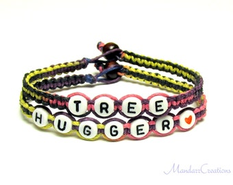 Tree Hugger Bracelets in Flirt, Pink Yellow Purple Black, Hemp Jewelry for Nature Lovers, Black Friday Cyber Monday Sale
