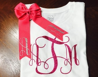 Monogram Girls Shirt  & Hairbow Set