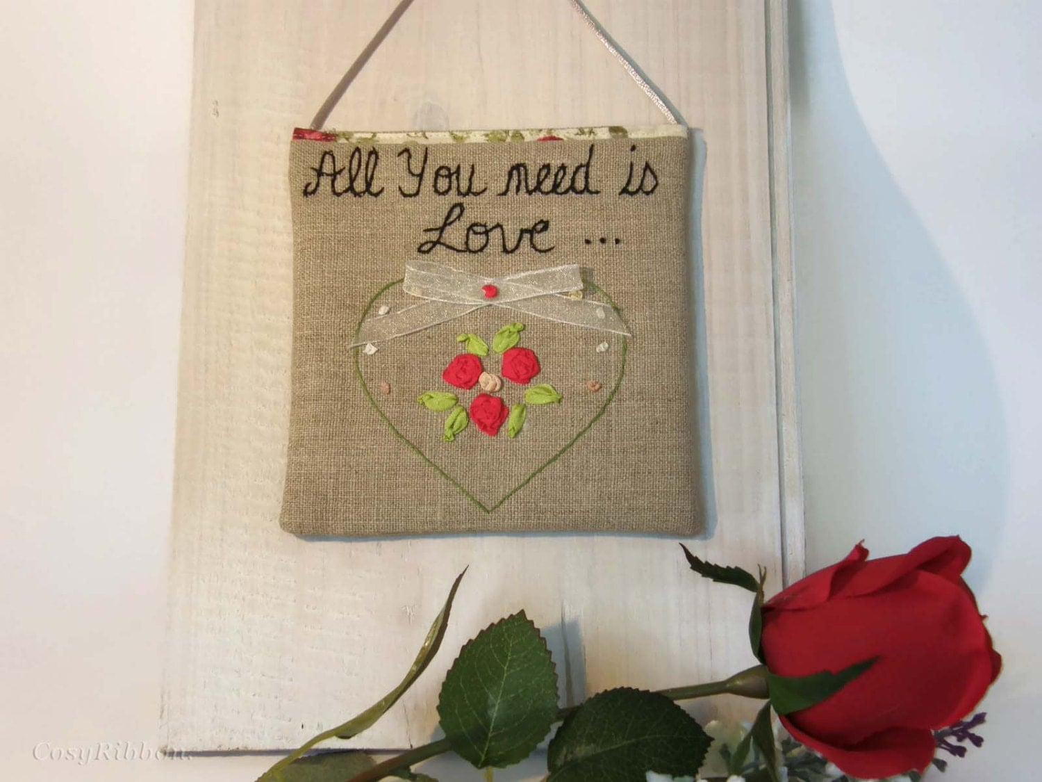 Inspiration quote love sign embroidered wall decor door