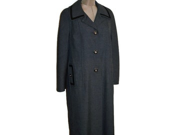 60s Vintage Youthcraft Coat Full Lendth Dark Grey Charcoal