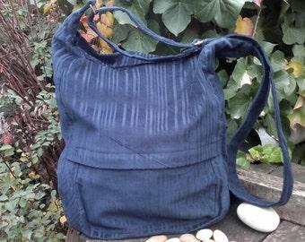 Blue corduroy messenger bag,zippered big bag