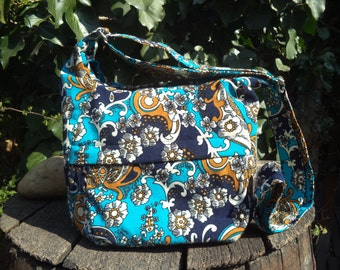 Floral corduroy zippered bag