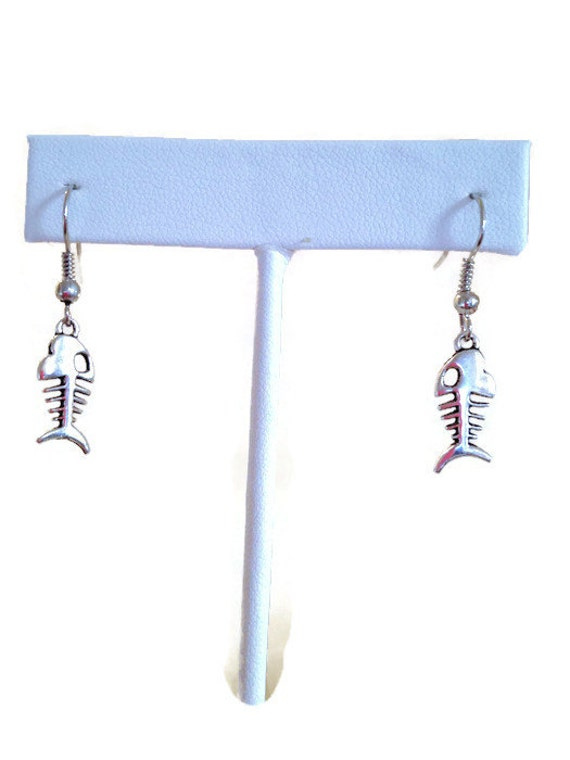 Fish bones earrings fish earrings nautical by for Fish bone earrings
