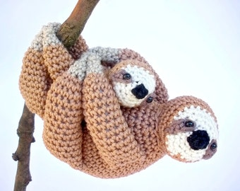 Mother and Baby Sloth Stuffed Animals, Cute Mother's Day Gift