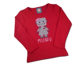 Girl's Valentine Robot Shirt with Embroidered Name