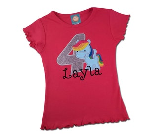 Girl's Pony Birthday Shirt with Rainbow Pegasus, Number and Name