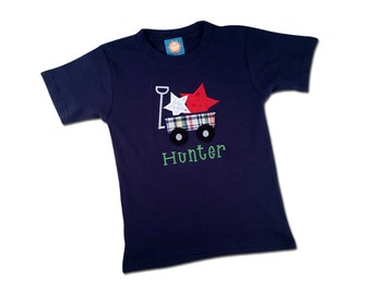 Boy's 4th of July Patriotic Shirt with Star Wagon and Embroidered Name