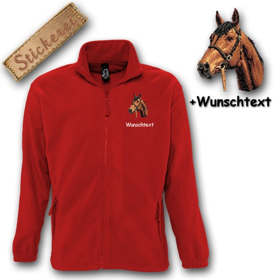 Cosy fleece jacket embroidery embroidered dog horse