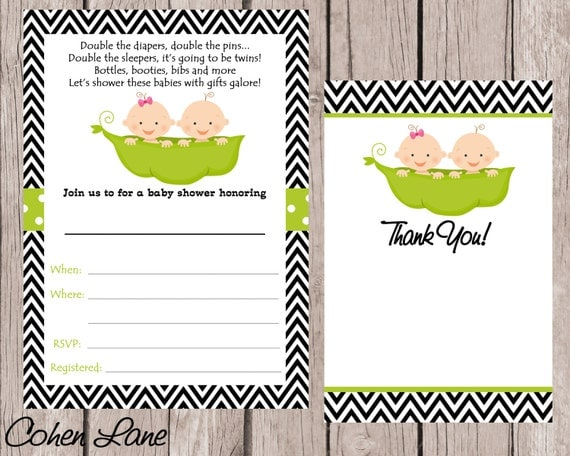 instant download fill in twins baby shower invitation  fill in