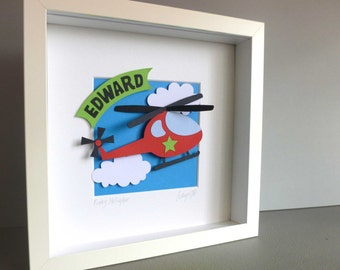 Personalised Baby Kids Children's picture - Helicopter 3D Framed Handmade Paper Artwork