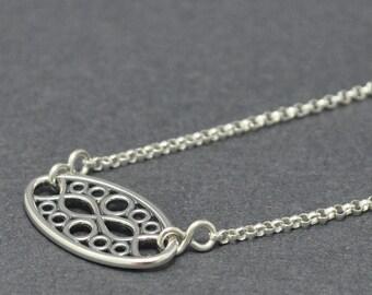 Sterling silver chain bracelet, Geometric bracelet, Filigree, Modern, Circle bracelet