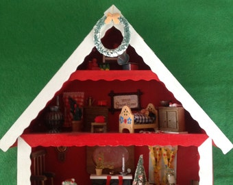 Enesco Red Chalet House Christmas Eve shadow box