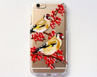 """Hand painted Phone case. """"Two Little Birds"""" Acrylic painting on clear plastic case."""