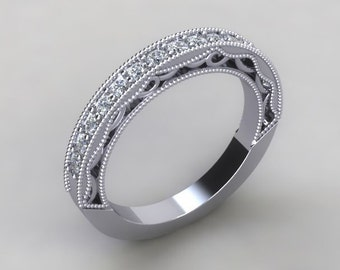 Vintage Diamond Band 14kt White Gold Art Deco Style Genuine Round Diamond .38tcw and Filigree Anniversary Band Engagement Ring Wedding Band