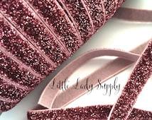 "Pink Glitter Elastic 3/8"", you choose yards, wholesale, glitter, headbands, elastic, ribbon"