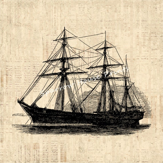 Items similar to ship print wall art boat old fashioned for Ship decor home
