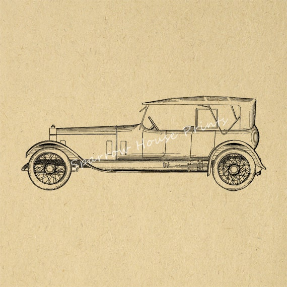 Vintage Auto Wall Decor : Vintage rolls royce car wall art automobile print