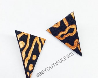 Abstract Triangle leather Earrings