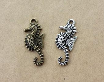 20pcs 13x28mm Antique Bronze Brass Vintage style hippocampus Charm Pendant ABA011