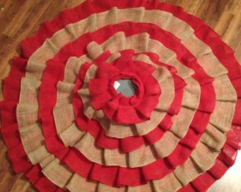 "48"" Natural and red burlap ruffle tree skirt"