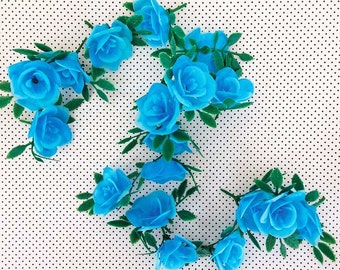 12 Blue Roses Cupcake Toppers Cake Picks Plastic Floral Garland Artificial Flowers