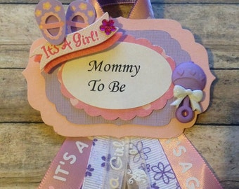 Pink & Purple Mommy To Be Baby Shower Corsage Purple Pink Theme