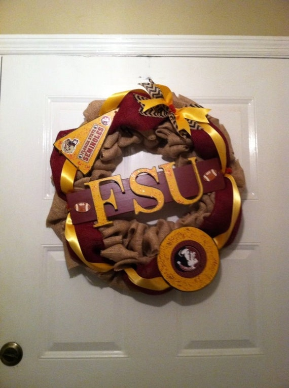Seminoles Fsu burlap wreath,Fsu Football wreath,Colligate wreaths,Noles wreath,Burlap Noles wreath,Burlap FSU Wreath,FSU football wreath