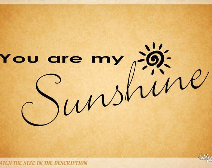 you are my sunshine Wall art DECAL Quotes and Phrase Vinyl sticker home decor babies room nursery crib lettering saying