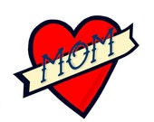 Tattoo body sticker Simple heart banner Mom body sticker. Valentines gift. Mother's day gift.