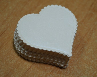 set 50 pc. Die Cuts - Heart - Cards ivory pearl 250 gr