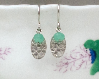 Catkin Drop Earrings with Chrysoprase
