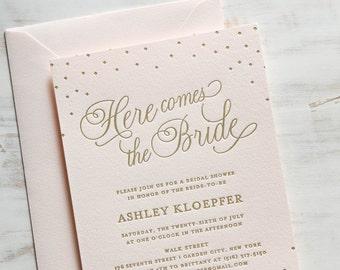 Here Comes the Bride | Letterpress Gold Foil Bridal Shower Invitation SAMPLE