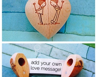 Wooden Heart with Secret Compartment and Scroll-Hearts Behind Backs Design
