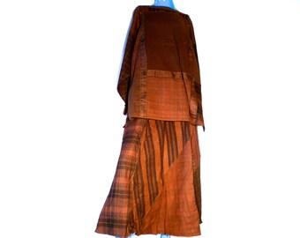 Vintage 80s Cotton Blouse and Skirt, 2 Piece Set, ZASHI New Old Stock