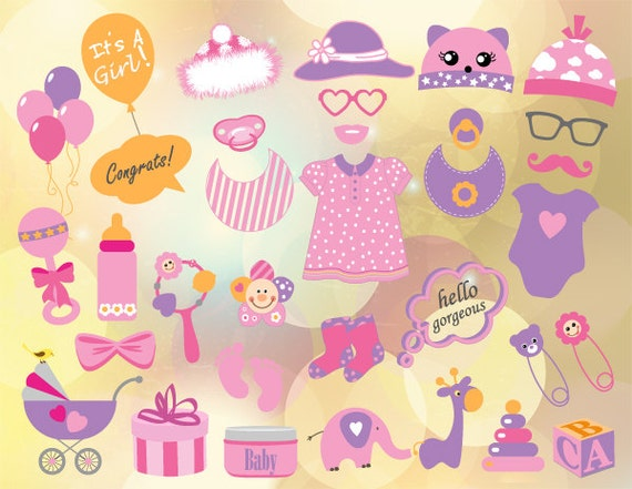 download baby shower photo booth props baby girl photobooth prop