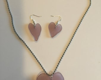 Gorgeous Lilac Seaglass heart pendant and matching earrings on sterling, ball chain 16 inches.