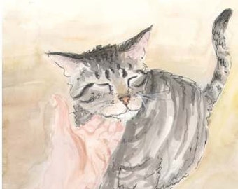 Leo, the cat, original watercolor painted by illustrator, artist for children's 32 page picture book