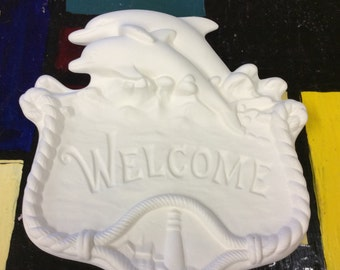 Ceramic Bisque Dolphin Welcome Sign U-Paint Craft Project