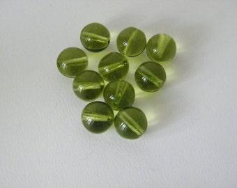 Olivine, Czech Glass Beads 8 mm Smooth Round - 36 pcs
