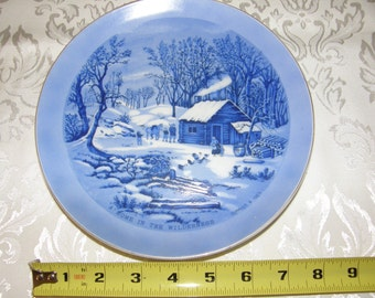 """Currier and Ives """"Home in the Wilderness"""" Collector's Plate"""
