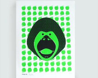 Monkey green. illustration A3 silk-screened