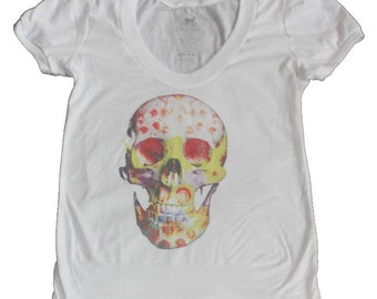 Flower skull, Limited edition T-shirt with art print