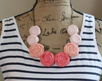 SHERBET Ombré Rolled Fabric Rosie Posie Necklace & Earrings Set