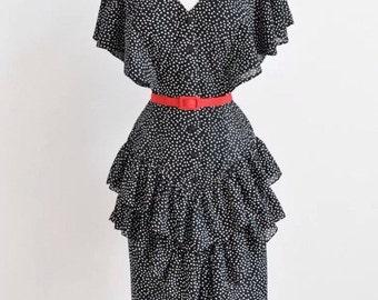 Vintage Dot and Ruffle Dress
