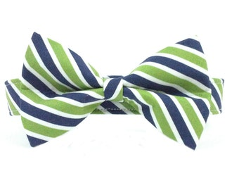 Blue/Green Diagonal Stripe Dog Collar Bowtie Set- Removable Bowtie