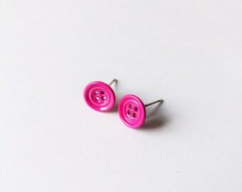Little Fuchsia Button Earrings - Hot Pink earrings - Fashion earrings - Hot Pink Button - Post earrings - Stud earrings - Button earrings