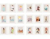 Set of 3 - Peter Pan Art Prints  - Mermaids - Captain Hook - Tiger Lily - Lost Boys - Tinkerbell - Peter Pan Nursery