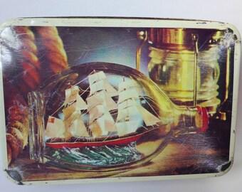Vintage Tall Ship Nautical Tin ~ Vintage Canister ~ Rustic Decor ~ Ship in Bottle ~ Beach House ~ Tea Tin